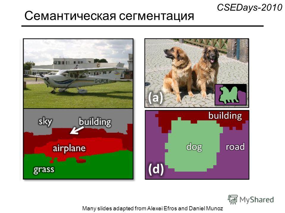 Семантическая сегментация Many slides adapted from Alexei Efros and Daniel Munoz CSEDays-2010