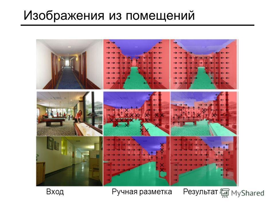 Изображения из помещений Вход Ручная разметка Результат