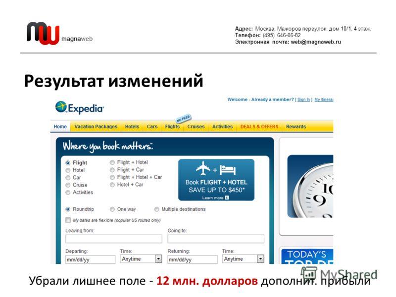 Адрес: Москва, Мажоров переулок, дом 10/1, 4 этаж. Телефон: (495) 646-06-82 Электронная почта: web@magnaweb.ru Результат изменений Убрали лишнее поле - 12 млн. долларов дополнит. прибыли