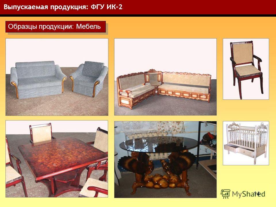 14 Выпускаемая продукция: ФГУ ИК-2 Образцы продукции: Мебель