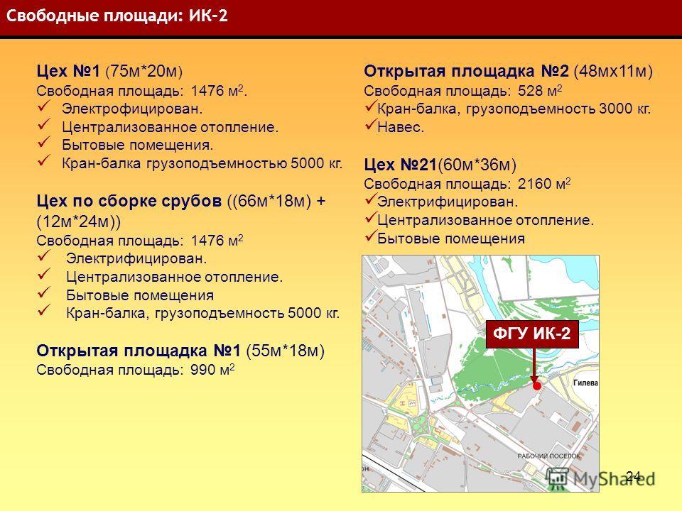 24 Свободные площади: ИК-2 Цех 1 ( 75 м*20 м ) Свободная площадь: 1476 м 2. Электрофицирован. Централизованное отопление. Бытовые помещения. Кран-балка грузоподъемностью 5000 кг. Цех по сборке срубов ((66 м*18 м) + (12 м*24 м)) Свободная площадь: 147
