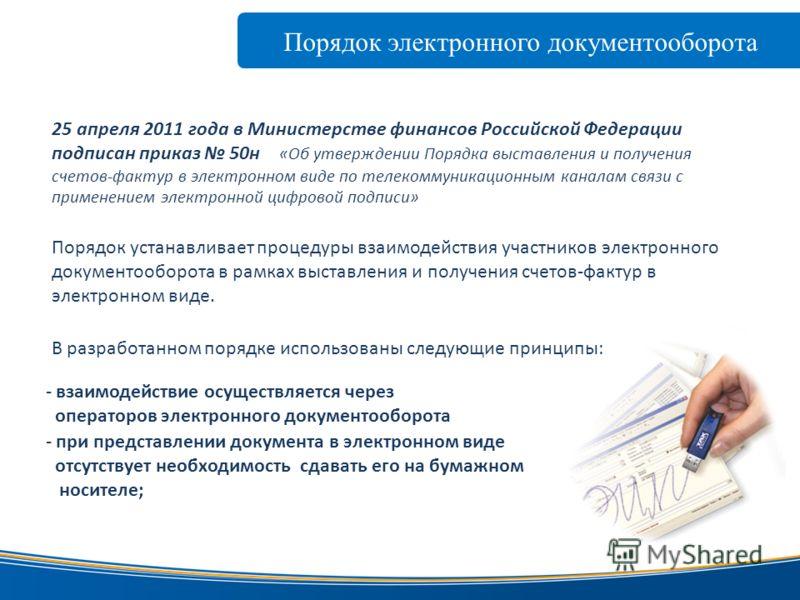 Порядок электронного документооборота www.taxcom.ru В разработанном порядке использованы следующие принципы: - взаимодействие осуществляется через операторов электронного документооборота - при представлении документа в электронном виде отсутствует н