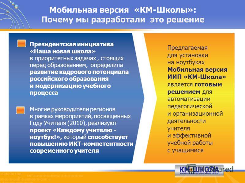 Мобильная версия «КМ-Школы»: Почему мы разработали это решение Президентская инициатива «Наша новая школа» в приоритетных задачах, стоящих перед образованием, определила развитие кадрового потенциала российского образования и модернизацию учебного пр