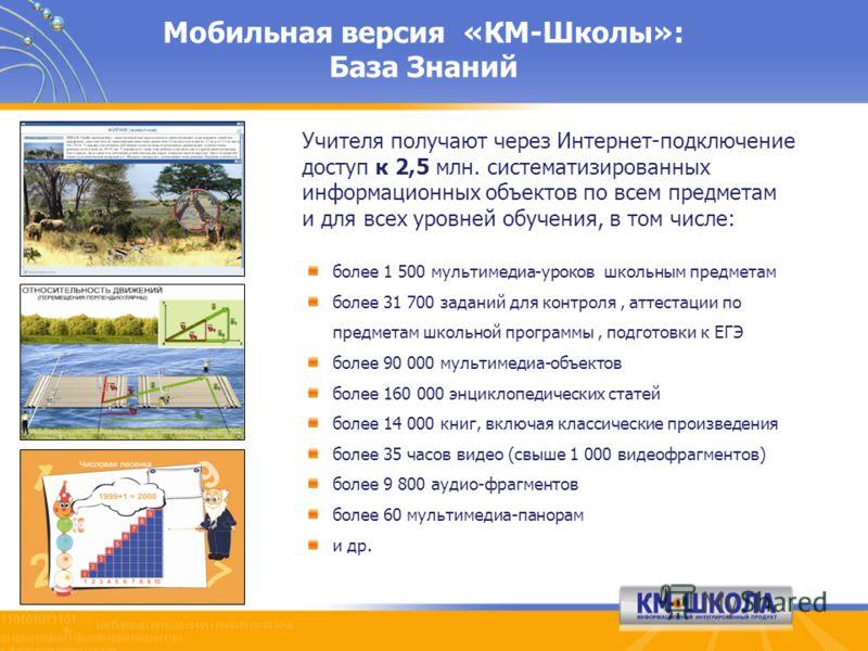 Мобильная версия «КМ-Школы»: База Знаний более 1 500 мультимедиа-уроков школьным предметам более 31 700 заданий для контроля, аттестации по предметам школьной программы, подготовки к ЕГЭ более 90 000 мультимедиа-объектов более 160 000 энциклопедическ