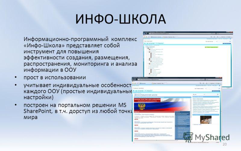 ИНФО-ШКОЛА Информационно-программный комплекс «Инфо-Школа» представляет собой инструмент для повышения эффективности создания, размещения, распространения, мониторинга и анализа информации в ООУ прост в использовании учитывает индивидуальные особенно
