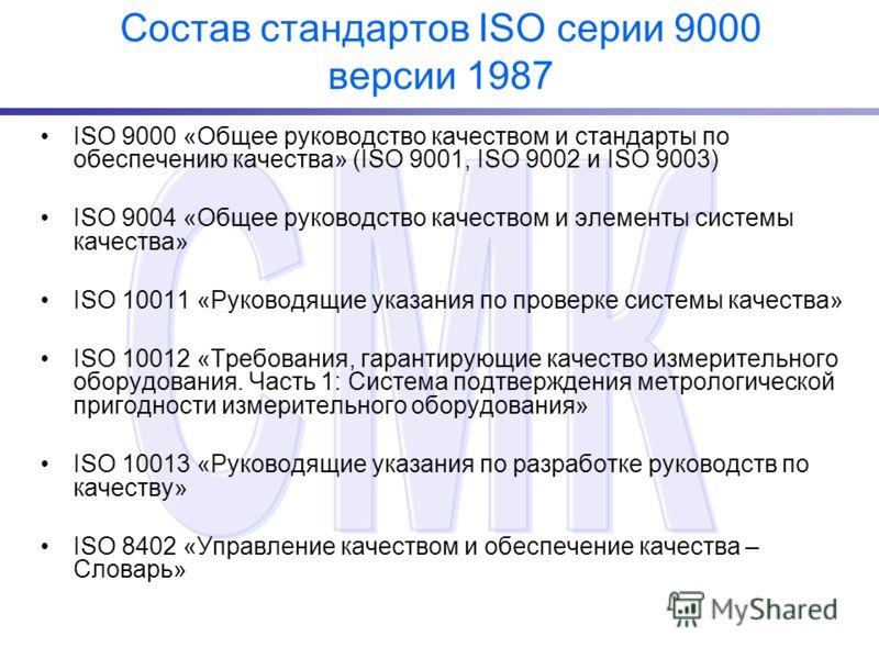 Состав стандартов ISO серии 9000 версии 1987 ISO 9000 «Общее руководство качеством и стандарты по обеспечению качества» (ISO 9001, ISO 9002 и ISO 9003) ISO 9004 «Общее руководство качеством и элементы системы качества» ISO 10011 «Руководящие указания