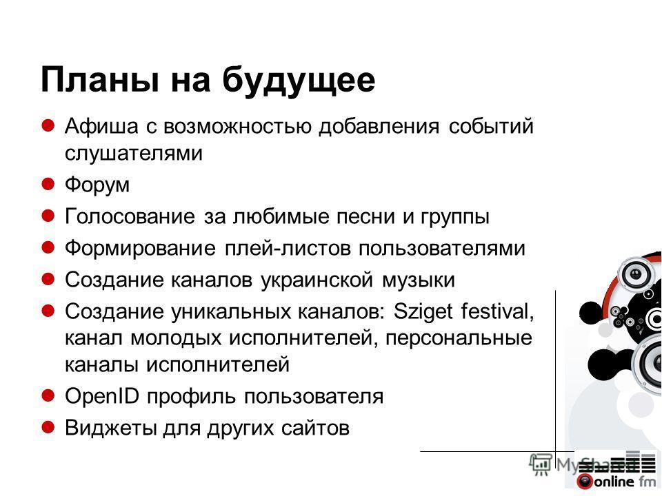 Планы на будущее Афиша с возможностью добавления событий слушателями Форум Голосование за любимые песни и группы Формирование плей-листов пользователями Создание каналов украинской музыки Создание уникальных каналов: Sziget festival, канал молодых ис