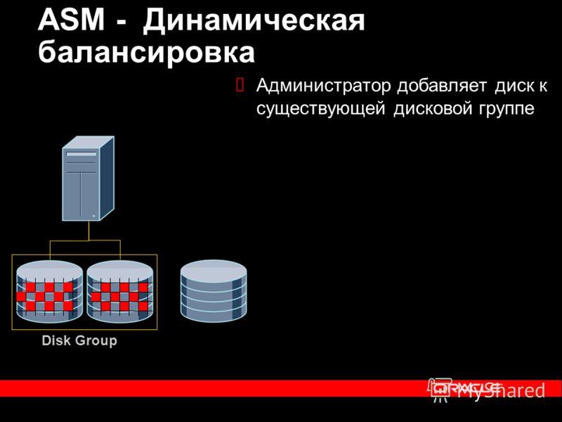 Администратор добавляет диск к существующей дисковой группе ASM - Динамическая балансировка Disk Group
