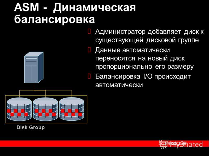 ASM - Динамическая балансировка Администратор добавляет диск к существующей дисковой группе Данные автоматически переносятся на новый диск пропорционально его размеру Балансировка I/O происходит автоматически