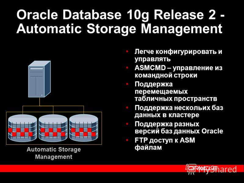 Oracle Database 10g Release 2 - Automatic Storage Management Легче конфигурировать и управлять ASMCMD – управление из командной строки Поддержка перемещаемых табличных пространств Поддержка нескольих баз данных в кластере Поддержка разных версий баз