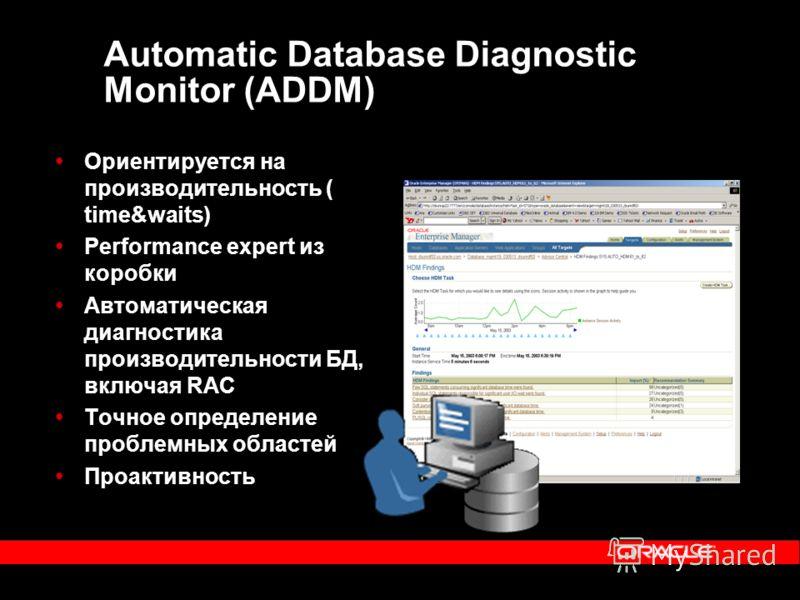 Automatic Database Diagnostic Monitor (ADDM) Ориентируется на производительность ( time&waits) Performance expert из коробки Автоматическая диагностика производительности БД, включая RAC Точное определение проблемных областей Проактивность