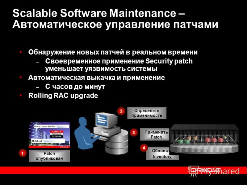 Scalable Software Maintenance – Автоматическое управление патчами Обнаружение новых патчей в реальном времени – Своевременное применение Security patch уменьшает уязвимость системы Автоматическая выкачка и применение – С часов до минут Rolling RAC up