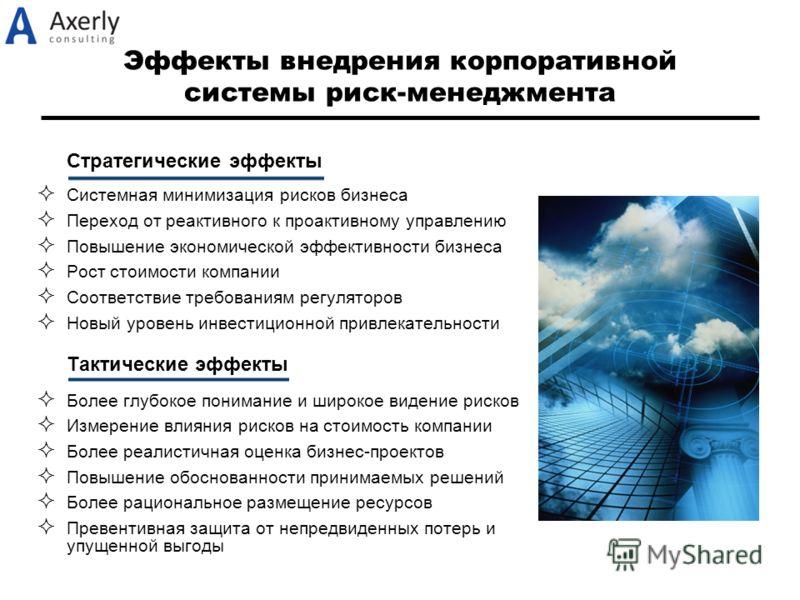 Эффекты внедрения корпоративной системы риск-менеджмента Стратегические эффекты Системная минимизация рисков бизнеса Переход от реактивного к проактивному управлению Повышение экономической эффективности бизнеса Рост стоимости компании Соответствие т
