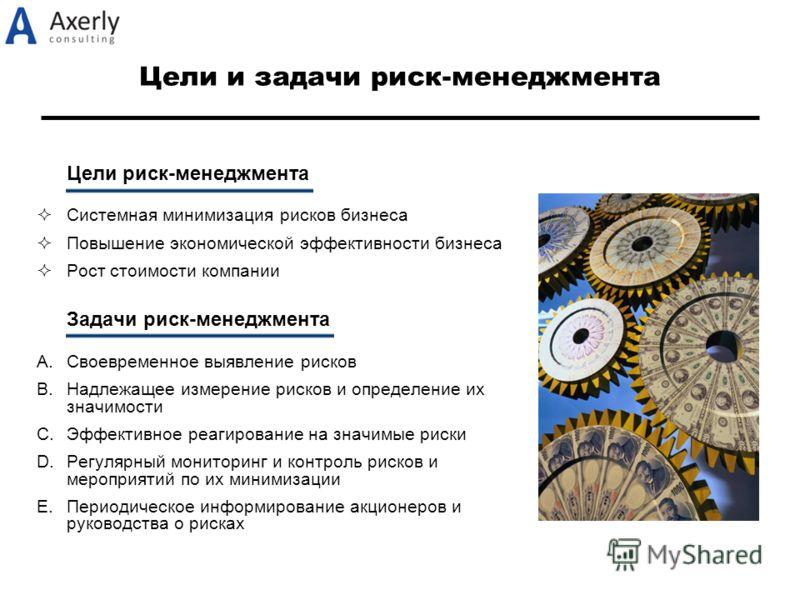 Цели и задачи риск-менеджмента Цели риск-менеджмента Системная минимизация рисков бизнеса Повышение экономической эффективности бизнеса Рост стоимости компании Задачи риск-менеджмента A.Своевременное выявление рисков B.Надлежащее измерение рисков и о