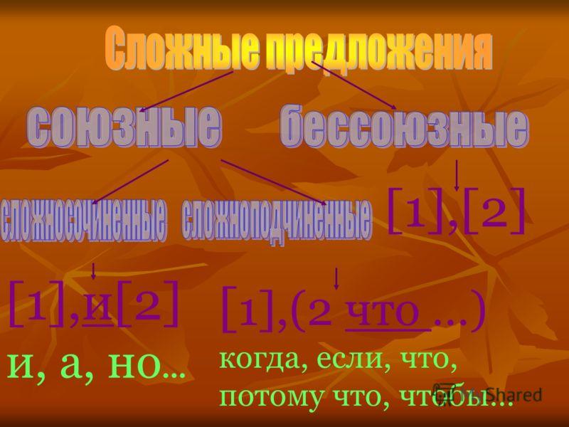 [1],и[2] и, а, но... [ 1],(2 что …) когда, если, что, потому что, чтобы… [1],[2]