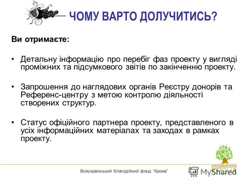 Реєстр донорів кісткового мозку - порятунок життя дітей, хворих на рак крові! Всеукраїнський благодійний фонд Крона ЧОМУ ВАРТО ДОЛУЧИТИСЬ? Ви отримаєте: Детальну інформацію про перебіг фаз проекту у вигляді проміжних та підсумкового звітів по закінче