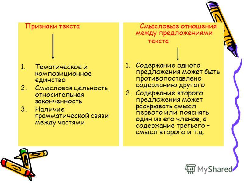 Признаки текста 1.Тематическое и композиционное единство 2.Смысловая цельность, относительная законченность 3.Наличие грамматической связи между частями Смысловые отношения между предложениями текста 1.Содержание одного предложения может быть противо