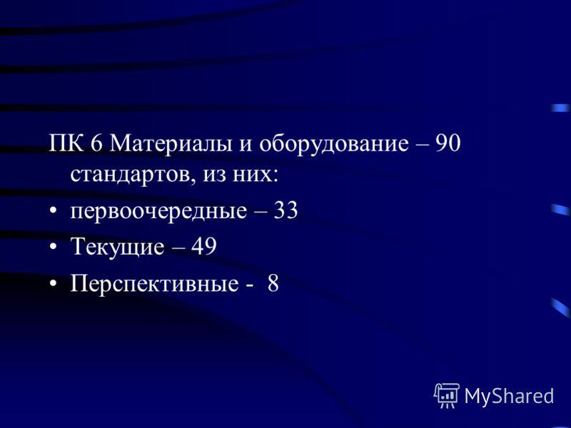 ПК 6 Материалы и оборудование – 90 стандартов, из них: первоочередные – 33 Текущие – 49 Перспективные - 8