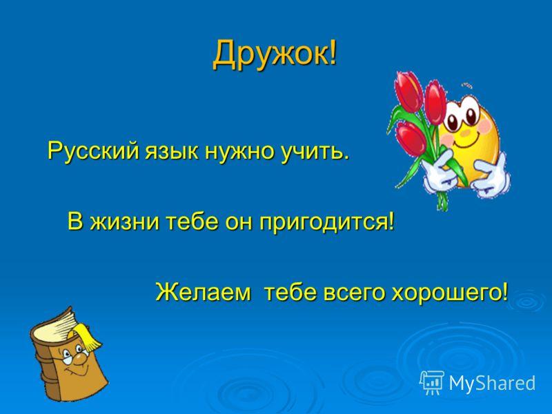 Дружок! Русский язык нужно учить. Русский язык нужно учить. В жизни тебе он пригодится! В жизни тебе он пригодится! Желаем тебе всего хорошего! Желаем тебе всего хорошего!