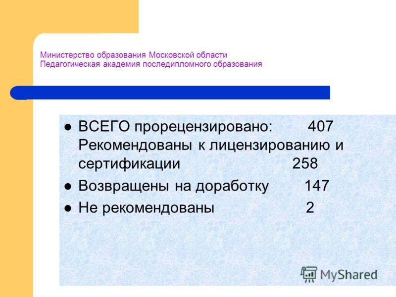 Министерство образования Московской области Педагогическая академия последипломного образования ВСЕГО прорецензировано: 407 Рекомендованы к лицензированию и сертификации 258 Возвращены на доработку 147 Не рекомендованы 2