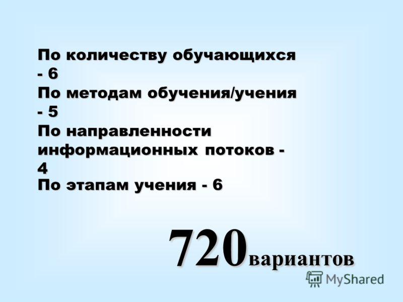 По количеству обучающихся - 6 По методам обучения/учения - 5 По этапам учения - 6 По направленности информационных потоков - 4 720 вариантов