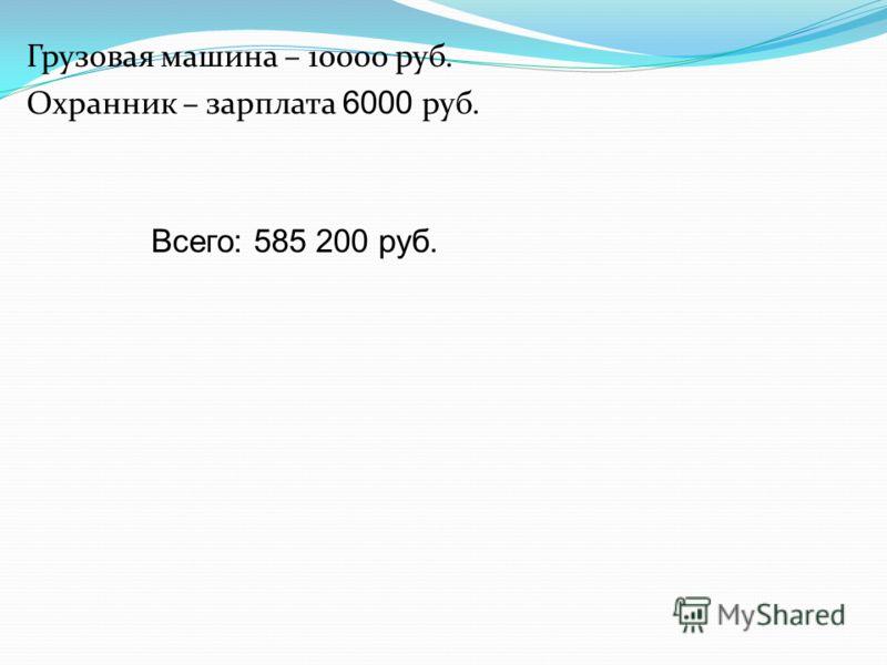 Грузовая машина – 10000 руб. Охранник – зарплата 6000 руб. Всего: 585 200 руб.