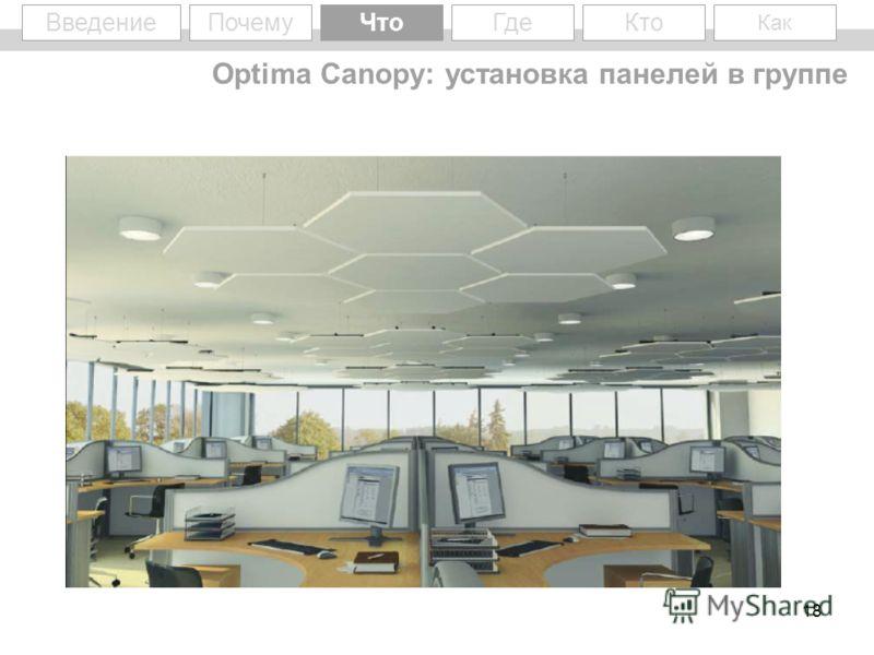 18 WhyWhat Введение Optima Canopy: установка панелей в группе ПочемуЧто Кто Как Где
