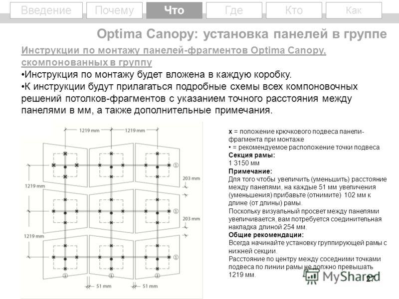 27 WhyWhat Введение ПочемуЧто Кто Как Где Инструкции по монтажу панелей-фрагментов Optima Canopy, скомпонованных в группу Инструкция по монтажу будет вложена в каждую коробку. К инструкции будут прилагаться подробные схемы всех компоновочных решений
