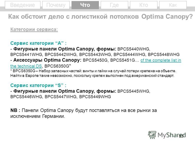 33 Введение Категории сервиса: Сервис категории A : - Фигурные панели Optima Canopy, формы: BPCS5440WHG, BPCS5441WHG, BPCS5442WHG, BPCS5443WHG, BPCS5444WHG, BPCS5448WHG - Аксессуары Optima Canopy: BPCS5450G, BPCS5451G… cf the complete list in the tec