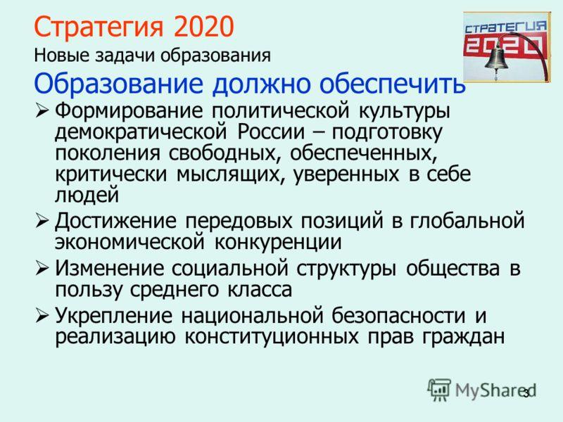 333 Стратегия 2020 Новые задачи образования Образование должно обеспечить Формирование политической культуры демократической России – подготовку поколения свободных, обеспеченных, критически мыслящих, уверенных в себе людей Достижение передовых позиц
