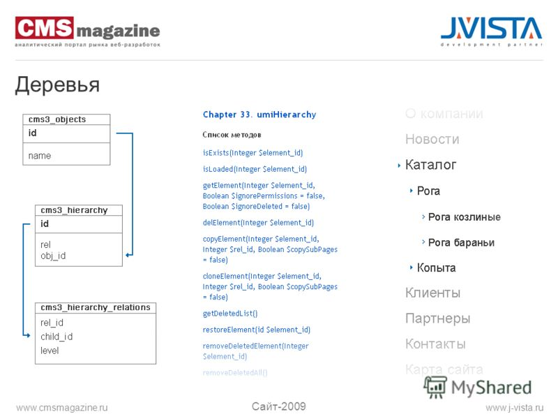 Деревья Сайт-2009 www.j-vista.ruwww.cmsmagazine.ru