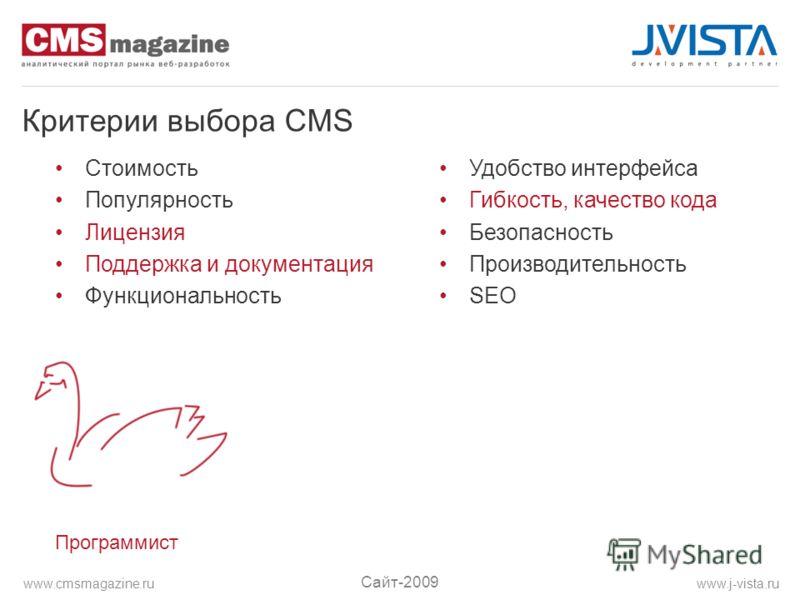 Критерии выбора CMS Стоимость Популярность Лицензия Поддержка и документация Функциональность Удобство интерфейса Гибкость, качество кода Безопасность Производительность SEO Программист Сайт-2009 www.j-vista.ruwww.cmsmagazine.ru