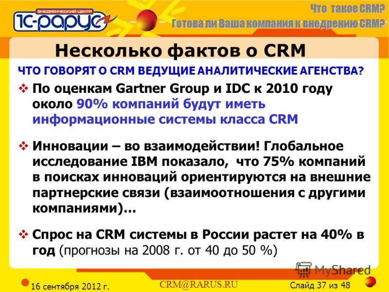 Что такое CRM? Готова ли Ваша компания к внедрению CRM? Слайд 37 из 48 CRM@RARUS.RU 16 сентября 2012 г. Несколько фактов о CRM ЧТО ГОВОРЯТ О CRM ВЕДУЩИЕ АНАЛИТИЧЕСКИЕ АГЕНСТВА? По оценкам Gartner Group и IDC к 2010 году около 90% компаний будут иметь
