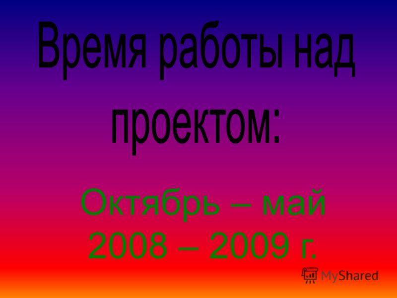 Октябрь – май 2008 – 2009 г.