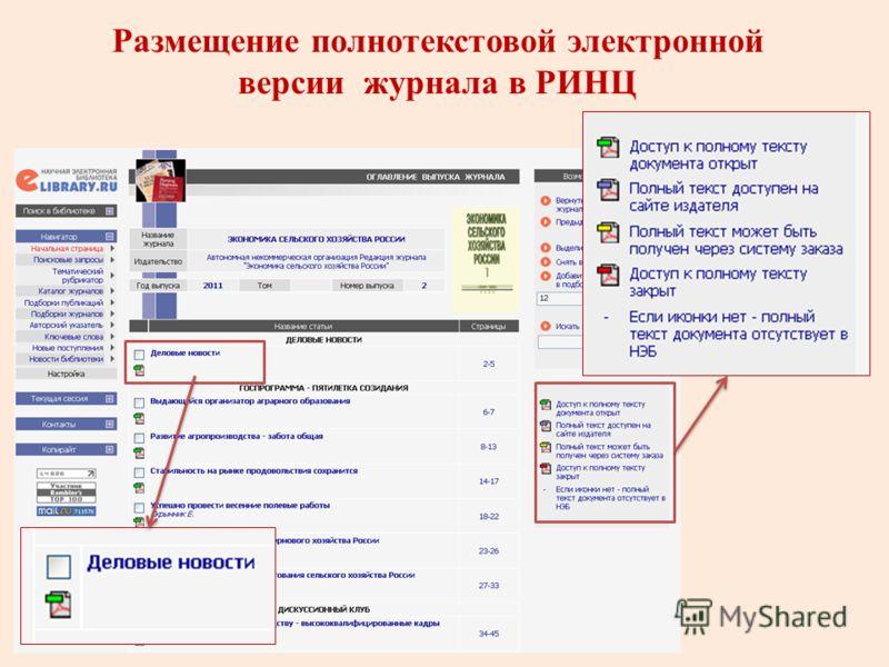 Размещение полнотекстовой электронной версии журнала в РИНЦ