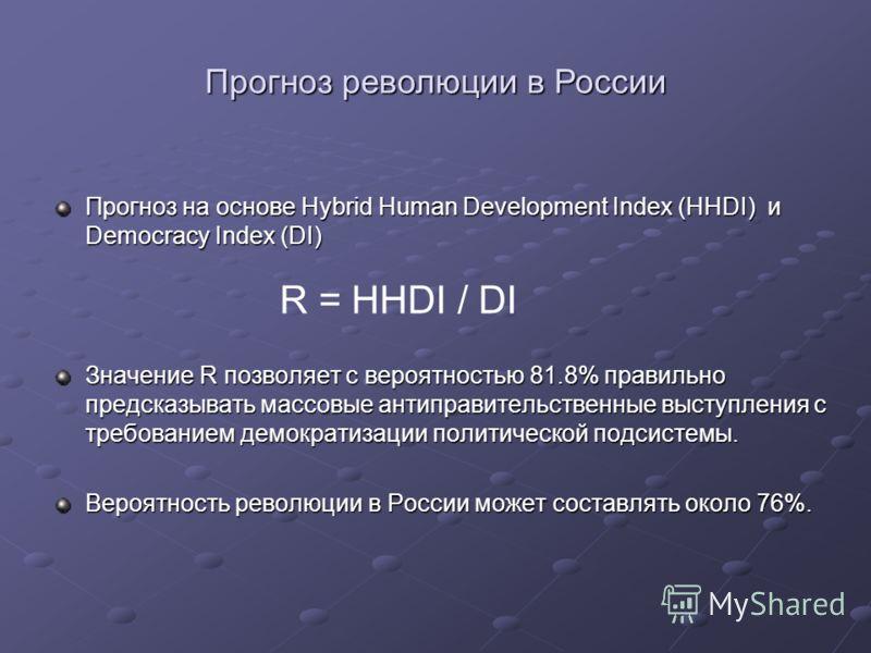 Прогноз на основе Hybrid Human Development Index (HHDI) и Democracy Index (DI) Значение R позволяет с вероятностью 81.8% правильно предсказывать массовые антиправительственные выступления с требованием демократизации политической подсистемы. Вероятно
