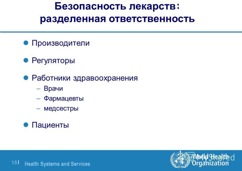Health Systems and Services 15 | Безопасность лекарств : разделенная ответственность Производители Регуляторы Работники здравоохранения –Врачи –Фармацевты –медсестры Пациенты