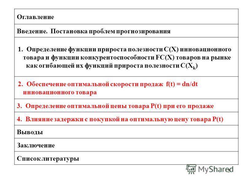 5 Оглавление Введение. Постановка проблем прогнозирования 1. Определение функции прироста полезности C(X) инновационного товара и функции конкурентоспособности FC(X) товаров на рынке как огибающей их функций прироста полезности C(X k ) 2. Обеспечение