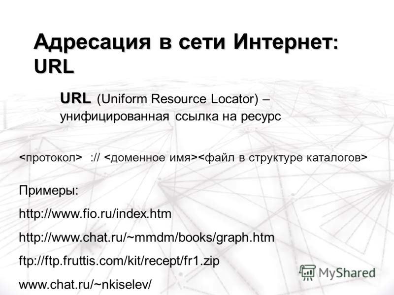 :// Примеры: http://www.fio.ru/index.htm http://www.chat.ru/~mmdm/books/graph.htm ftp://ftp.fruttis.com/kit/recept/fr1.zip www.chat.ru/~nkiselev/ Адресация в сети Интернет : URL URL URL (Uniform Resource Locator) – унифицированная ссылка на ресурс