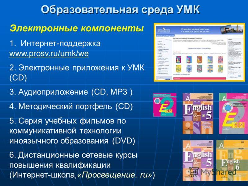 Образовательная среда УМК Электронные компоненты 1. Интернет-поддержка www.prosv.ru/umk/we www.prosv.ru/umk/we 2. Электронные приложения к УМК (CD) 3. Аудиоприложение (CD, MP3 ) 4. Методический портфель (CD) 5. Серия учебных фильмов по коммуникативно