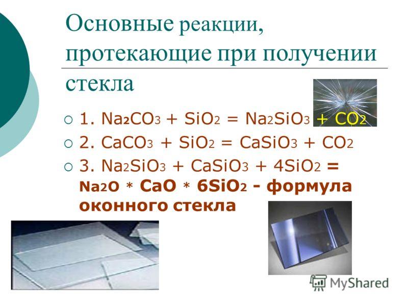 Основные реакции, протекающие при получении стекла 1. Na 2 CO 3 + SiO 2 = Na 2 SiO 3 + CO 2 2. CaCO 3 + SiO 2 = CaSiO 3 + CO 2 3. Na 2 SiO 3 + CaSiO 3 + 4SiO 2 = Na 2 O * CaO * 6SiO 2 - формула оконного стекла