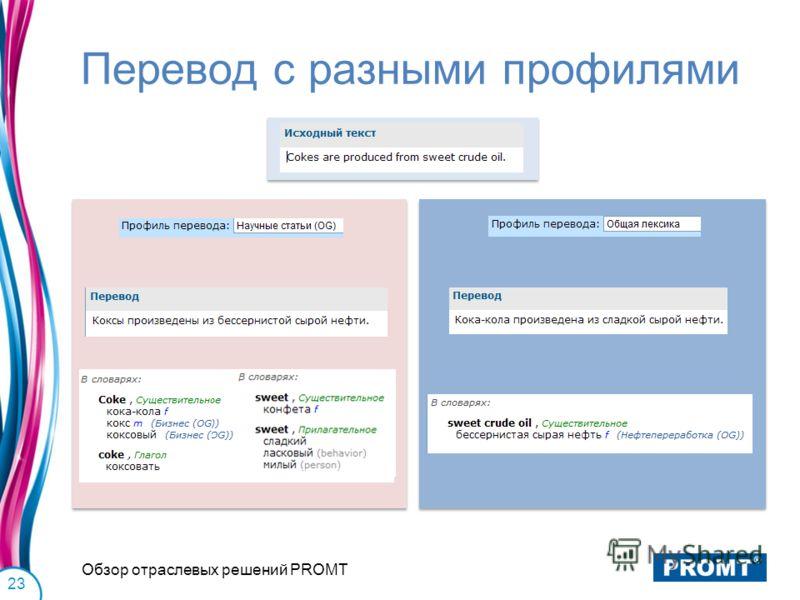 Перевод с разными профилями Обзор отраслевых решений PROMT 23