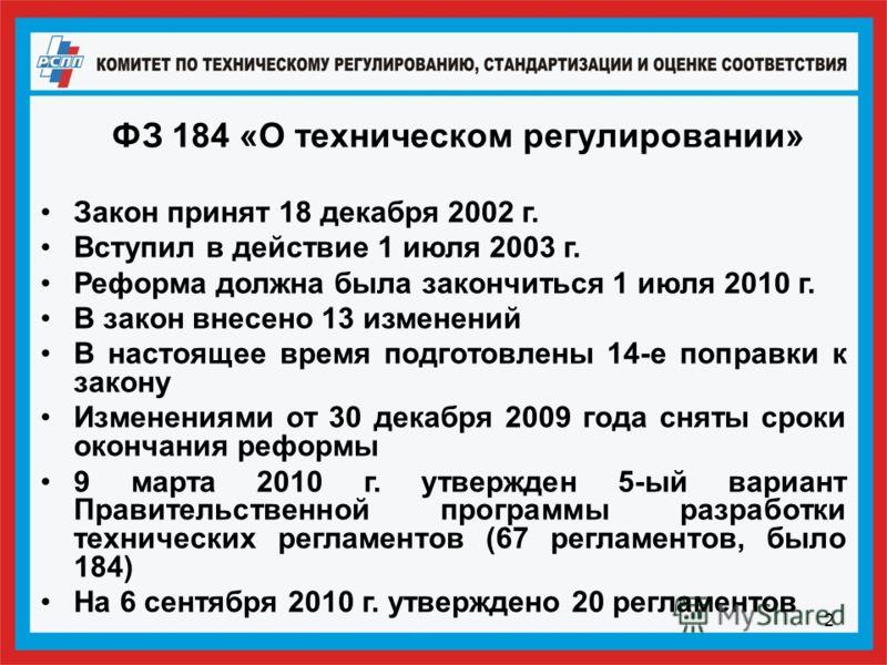 2 ФЗ 184 «О техническом регулировании» Закон принят 18 декабря 2002 г. Вступил в действие 1 июля 2003 г. Реформа должна была закончиться 1 июля 2010 г. В закон внесено 13 изменений В настоящее время подготовлены 14-е поправки к закону Изменениями от