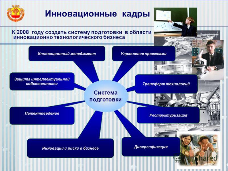 Инновационные кадры К 2008 году создать систему подготовки в области инновационно технологического бизнеса Инновации и риски в бизнесе Защита интеллектуальной собственности Управление проектамиИнновационный менеджмент Трансферт технологий Реструктури