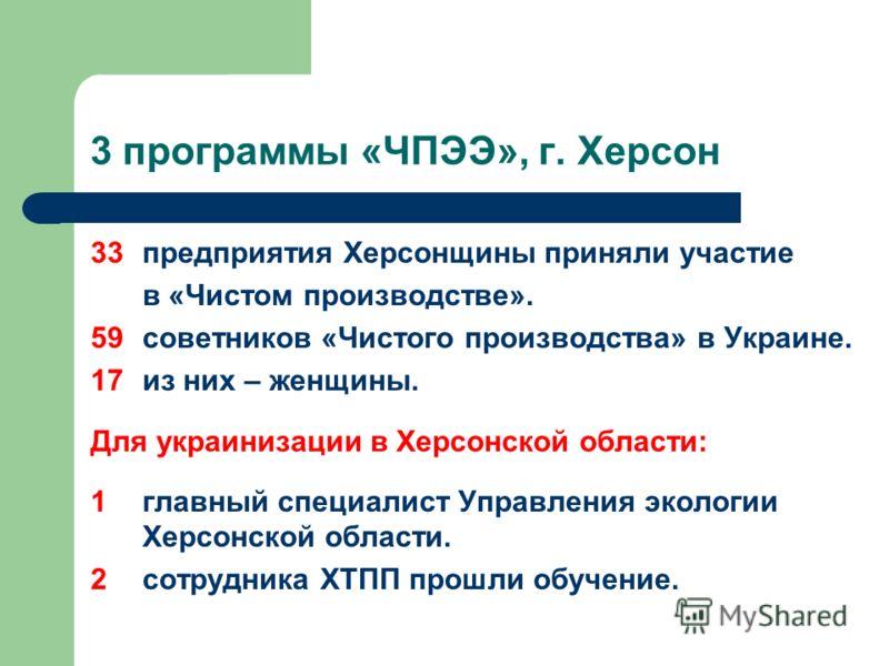 3 программы «ЧПЭЭ», г. Херсон 33 предприятия Херсонщины приняли участие в «Чистом производстве». 59 советников «Чистого производства» в Украине. 17 из них – женщины. Для украинизации в Херсонской области: 1главный специалист Управления экологии Херсо