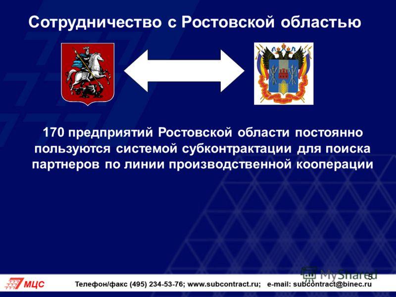 5 Сотрудничество с Ростовской областью 170 предприятий Ростовской области постоянно пользуются системой субконтрактации для поиска партнеров по линии производственной кооперации