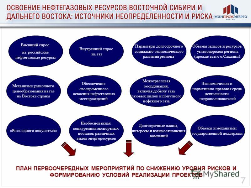 Внешний спрос на российские нефтегазовые ресурсы Объемы запасов и ресурсов углеводородов региона (прежде всего о.Сахалин) Внутренний спрос на газ Параметры долгосрочного социально-экономического развития региона Межотраслевая координация, включая доб
