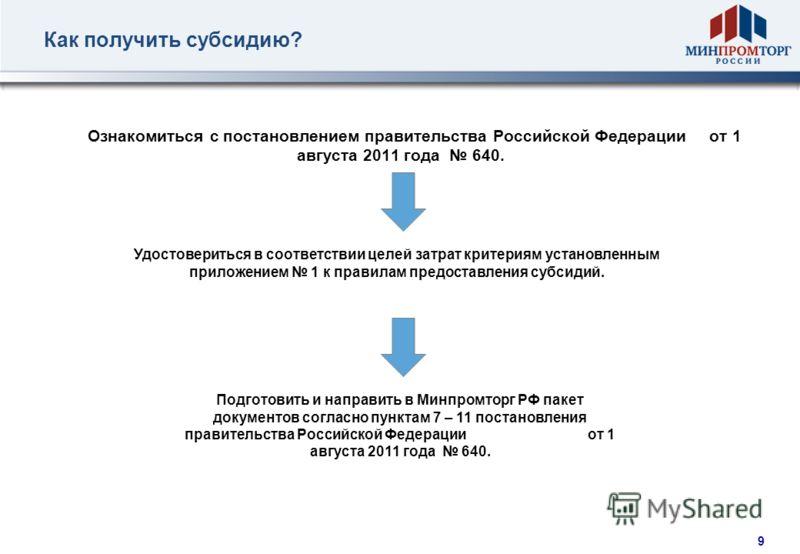 8 Предоставление субсидий из федерального бюджета Согласно постановлению правительства Российской Федерации от 1 августа 2011 года 640 российским организациям автомобилестроения, в том числе их дочерним организациям, предоставляются субсидии на возме