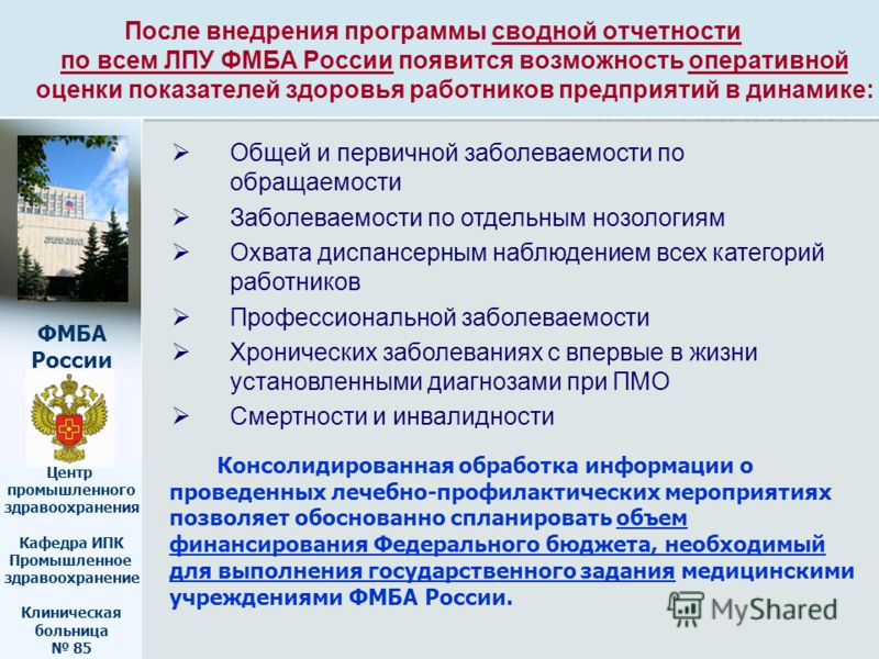 ФМБА России Центр промышленного здравоохранения Кафедра ИПК Промышленное здравоохранение Клиническая больница 85 После внедрения программы сводной отчетности по всем ЛПУ ФМБА России появится возможность оперативной оценки показателей здоровья работни