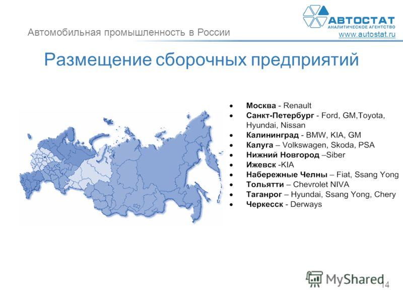 Автомобильная промышленность в России www.autostat.ru 14 Размещение сборочных предприятий